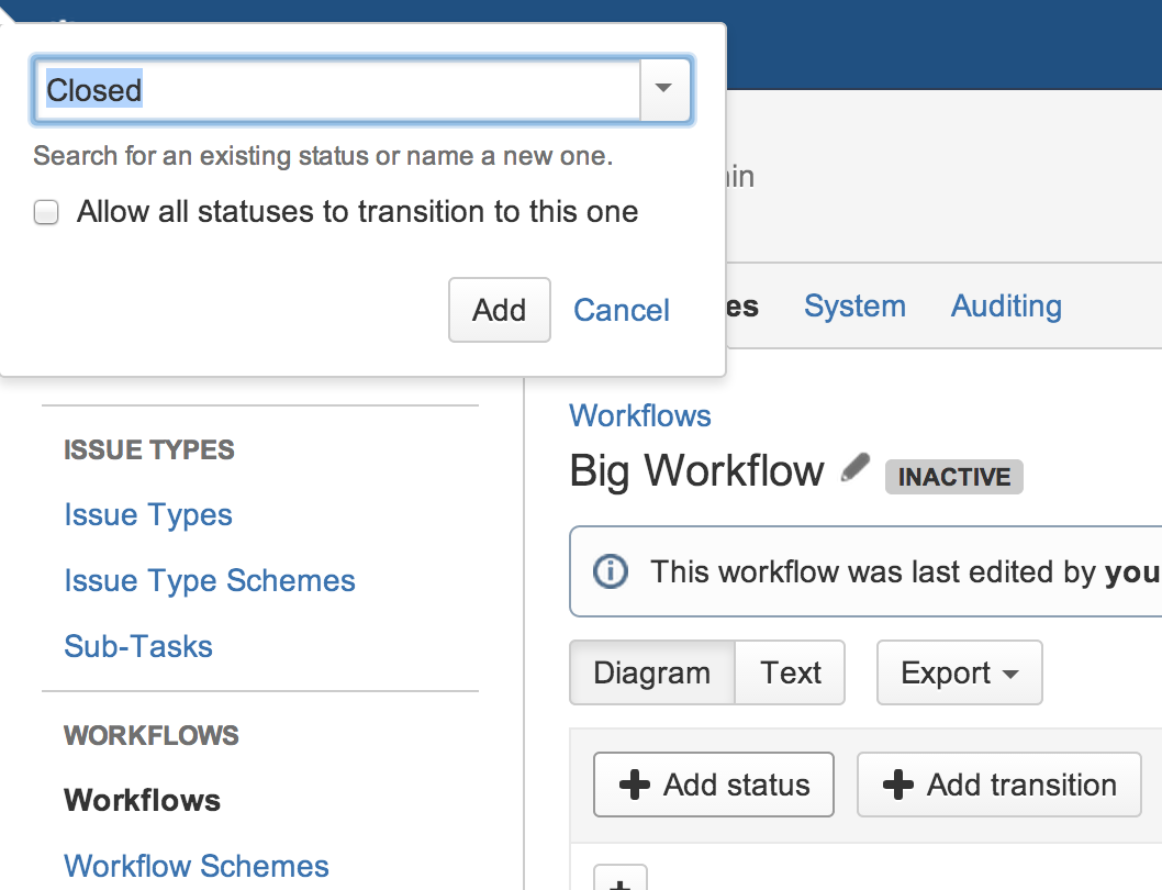 how to add a status category jira