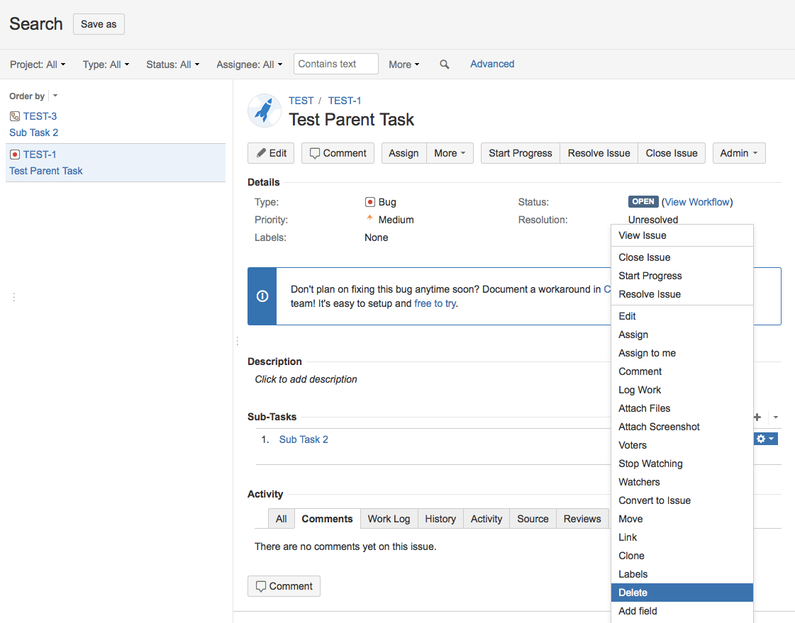 Search for all Sub-Tasks of one given issue - Atlassian