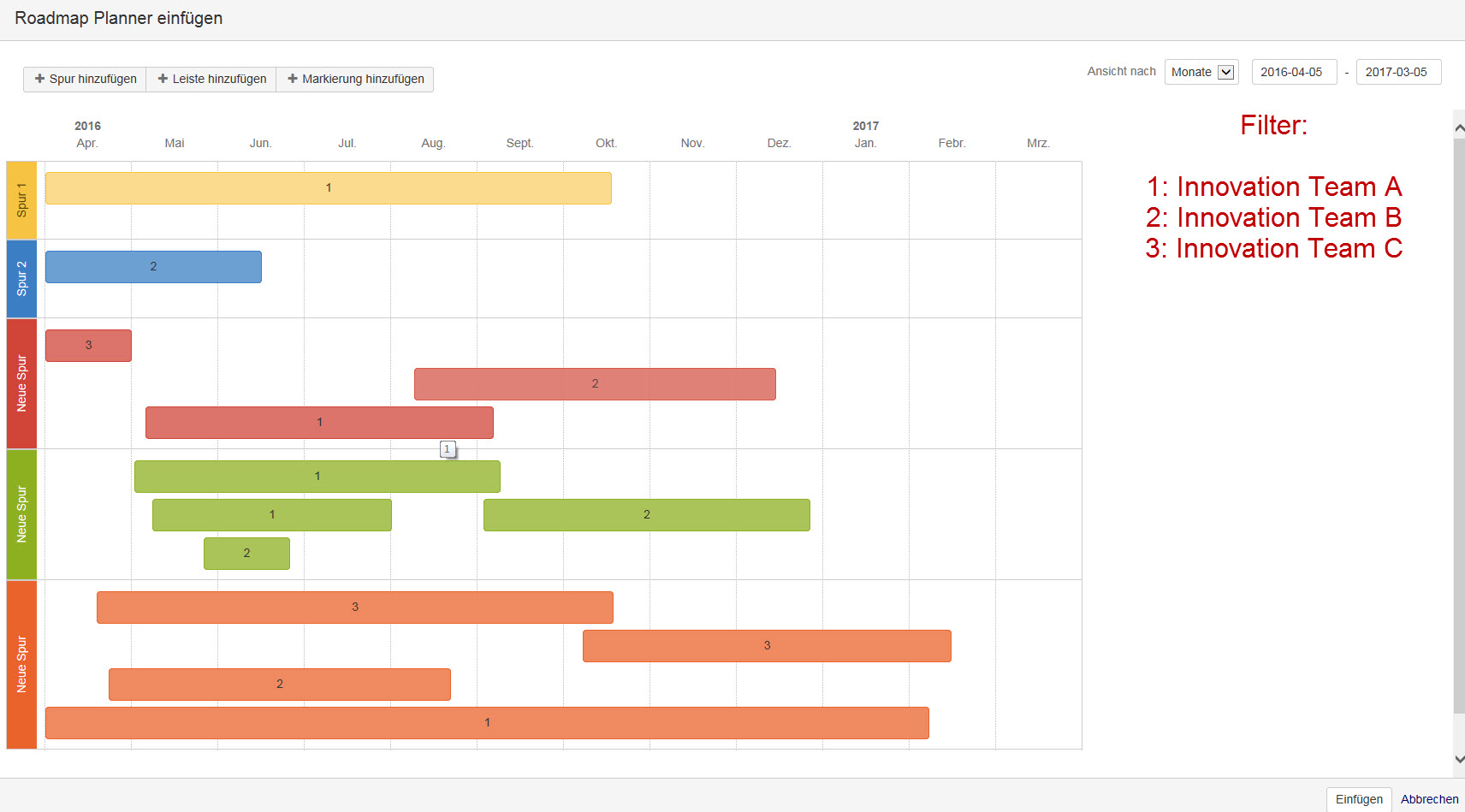 CONFSERVER Implementation Of Filter Features In Roadmap - Roadmap planner