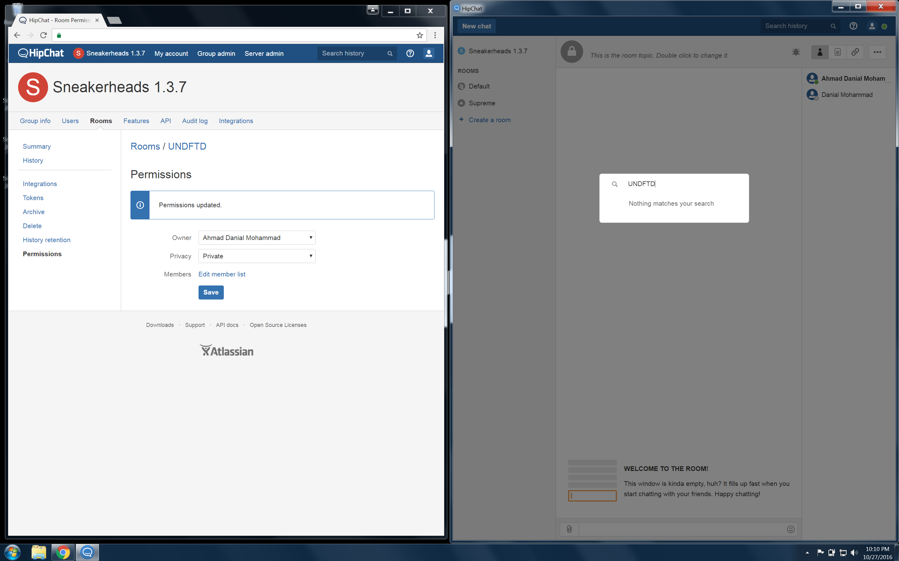 Create A Private Hipchat Room