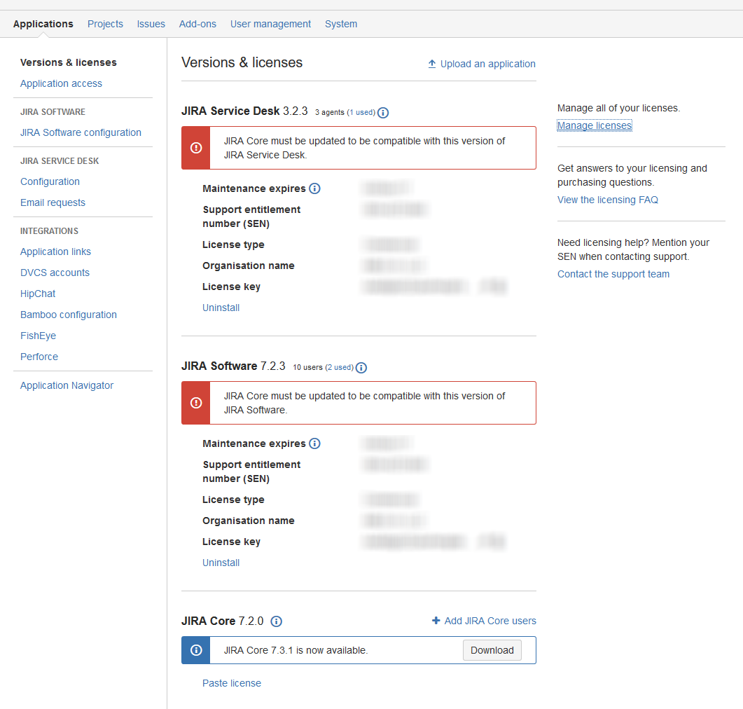 Jraserver 63794 Message Jira Core Must Be Updated To Be