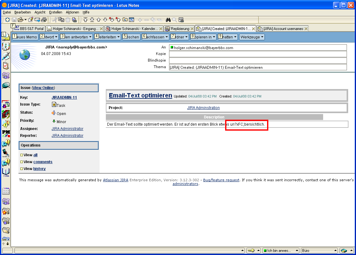 Jraserver 15194 Html Email In Lotus Notes Create And