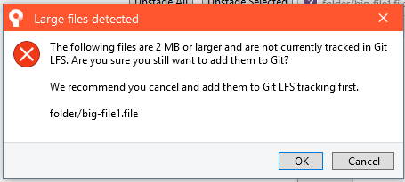 SRCTREEWIN-9267] Incorrect warning when adding LFS tracked file in a