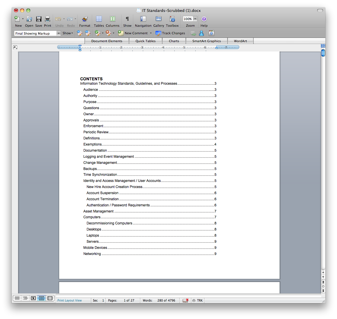 Table of contents word for Table of contents word