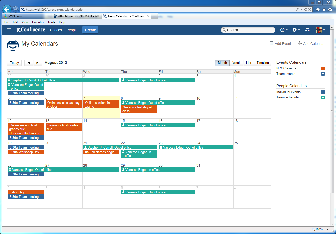 CONFSERVER-49922] Team Calendar grid/table - Atlassian JIRA